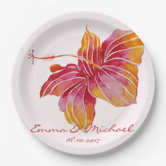 Prato De Papel Placas de papel personalizadas florais havaianas