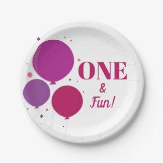 Prato De Papel Placas de papel roxas do aniversário | um e do