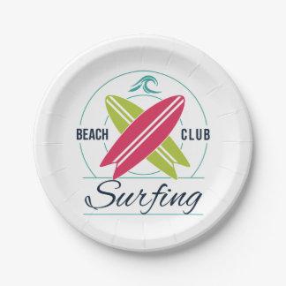Prato De Papel Placas de papel surfando do clube da praia
