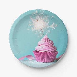 Prato De Papel Placas de papel temáticos do cupcake cor-de-rosa