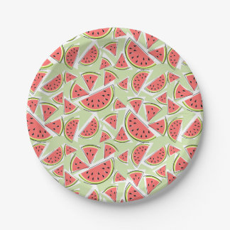 Prato De Papel Placas de papel verdes da melancia multi
