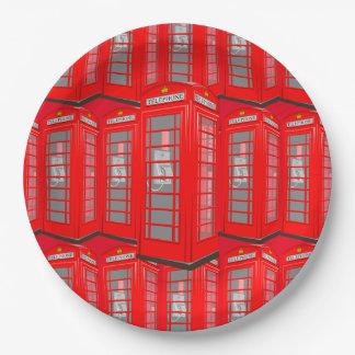Prato De Papel Placas de papel vermelhas britânicas de cabine de