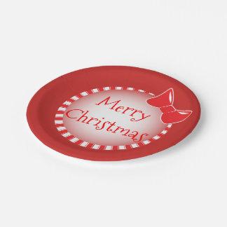 Prato De Papel Placas de papel vermelhas do Feliz Natal | do arco