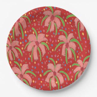 Prato De Papel Placas de papel vermelhas tropicais de flores de
