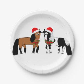 Prato De Papel Placas do cavalo do Natal