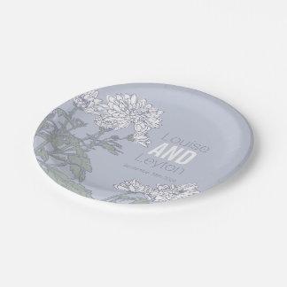 Prato De Papel Placas do costume da flor branca do crisântemo do