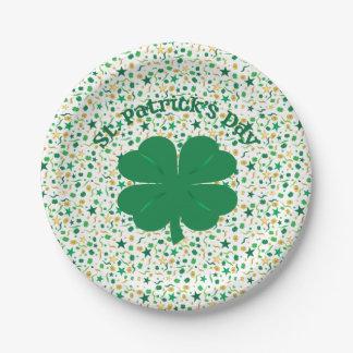 Prato De Papel Placas do dia de St Patrick dos confetes do trevo