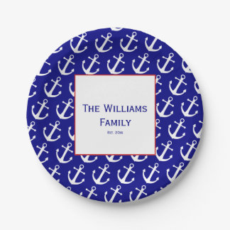 Prato De Papel Placas do Livro azul & Branco da âncora náutica