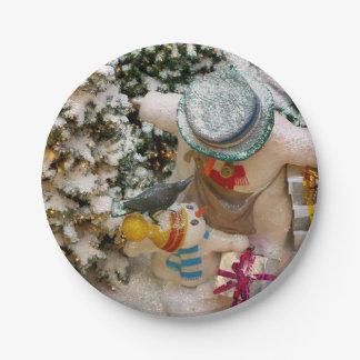 Prato De Papel Placas do partido da família do boneco de neve