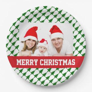 Prato De Papel Placas do partido da foto do Natal da família