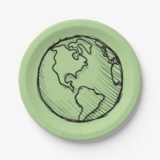 Prato De Papel Placas do planeta do Dia da Terra & fonte do