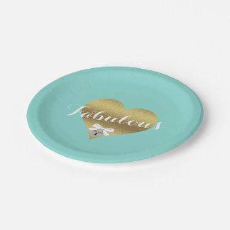 Prato De Papel Placas fabulosas do azul da cerceta de Tiffany do