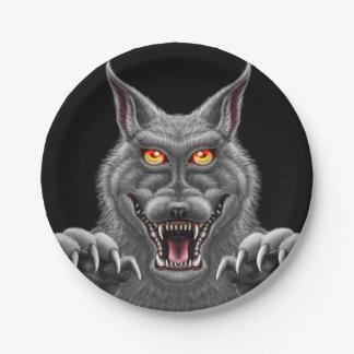 Prato De Papel Placas ferozes do partido do papel do homem-lobo