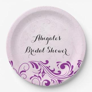 Prato De Papel Placas personalizadas roxo do partido de chá de