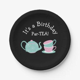 Prato De Papel Placas temáticos do tea party para o aniversário