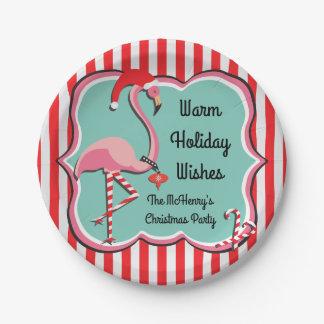 Prato De Papel Placas tropicais da festa de Natal do flamingo