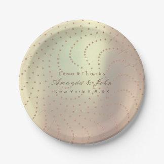 Prato De Papel Pontos cor-de-rosa do ouro do cristal metálico