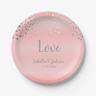 Prato De Papel Pontos Pastel dos confetes do rosa cor-de-rosa e