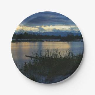 Prato De Papel Por do sol da meia-noite de Denali