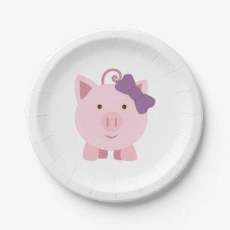 Prato De Papel Porco bonito da menina