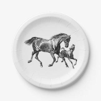 Prato De Papel Potro do bebê da mãe dos cavalos do vintage