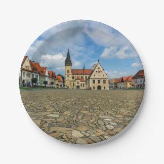 Prato De Papel Praça da cidade velha em Bardejov, Slovakia