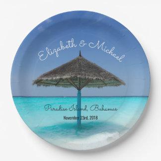 Prato De Papel Praia tropical com casamento Thatched do