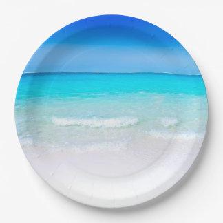 Prato De Papel Praia tropical com um mar de turquesa