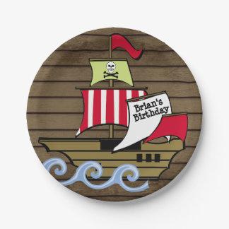 Prato De Papel Pranchas do navio e da madeira de pirata