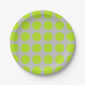 Prato De Papel Prata das bolinhas do verde limão