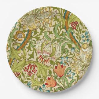 Prato De Papel Pre-Raphaelite dourado do vintage do lírio de
