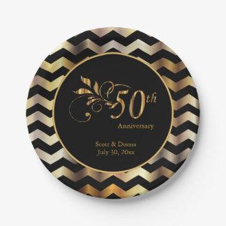 Prato De Papel Preto & aniversário de casamento de Chevron 50th