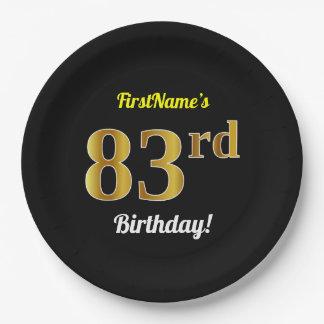 Prato De Papel Preto, aniversário do ouro do falso 83rd + Nome