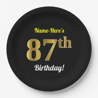 Prato De Papel Preto, aniversário do ouro do falso 87th + Nome