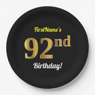 Prato De Papel Preto, aniversário do ouro do falso 92nd + Nome