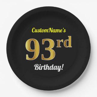 Prato De Papel Preto, aniversário do ouro do falso 93rd + Nome