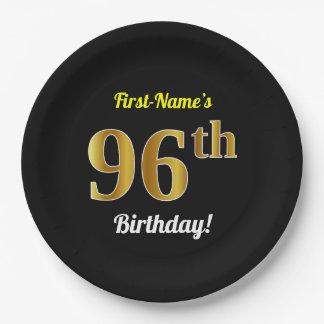Prato De Papel Preto, aniversário do ouro do falso 96th + Nome