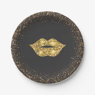 Prato De Papel Preto com brilho do ouro e lábios do ouro