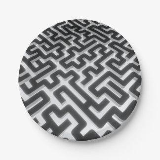 Prato De Papel Preto de prata do labirinto
