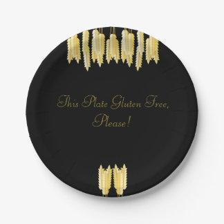 Prato De Papel Preto elegante & ouro sem glúten, por favor! Placa