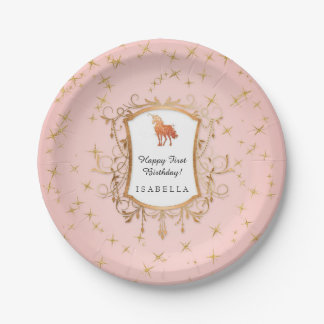 Prato De Papel Princesa cor-de-rosa do ouro do unicórnio mágico