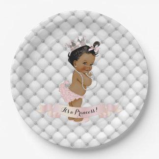Prato De Papel Princesa Diamante Cora Cor-de-rosa do