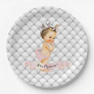 Prato De Papel Princesa Diamante Cora Cor-de-rosa Vintage do bebê