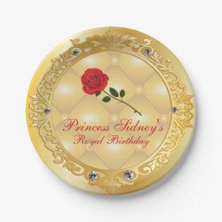 Prato De Papel Princesa Partido do ouro e da rosa vermelha