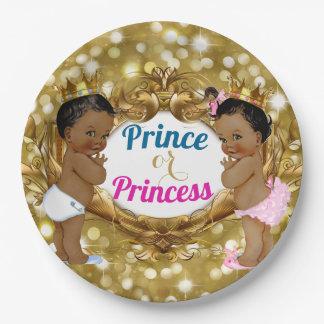 Prato De Papel Príncipe ou princesa africana Ouro Brilho Placa