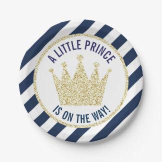 Prato De Papel Príncipe pequeno do ouro do marinho no chá de