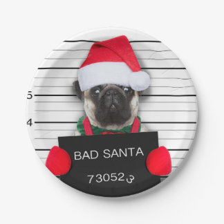 Prato De Papel Pug do Natal - cão do mugshot - pug do papai noel