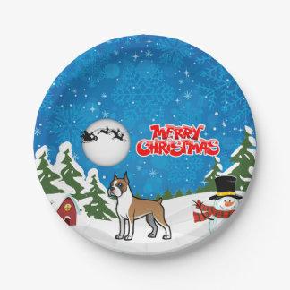 Prato De Papel Pugilista do Feliz Natal com um boneco de neve e o