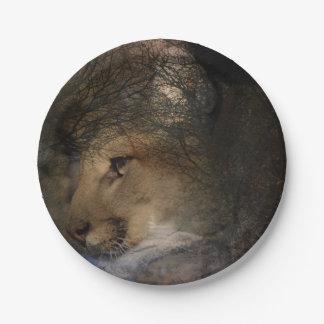 Prato De Papel Puma selvagem do leão de montanha da silhueta da