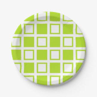 Prato De Papel Quadrados do verde limão e os brancos